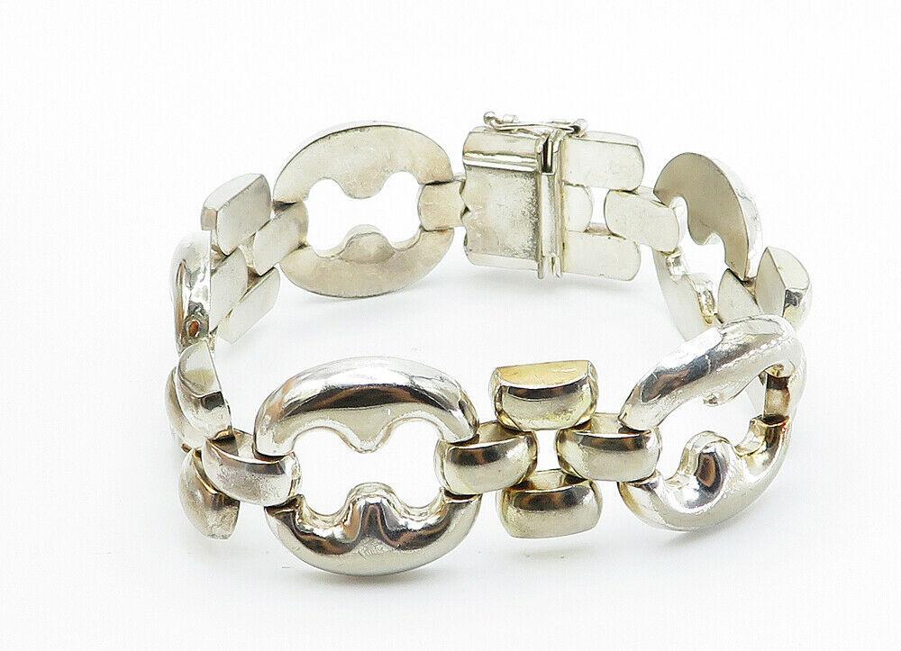 925 Sterling Silver - Vintage Shiny Large Open Link Chain Bracelet - B5999
