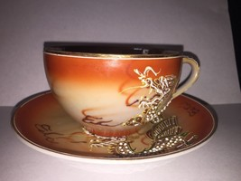 VINTAGE OCCUPIED JAPAN CUP & SAUCER DRAGON hand painted Rare Cool - $15.13