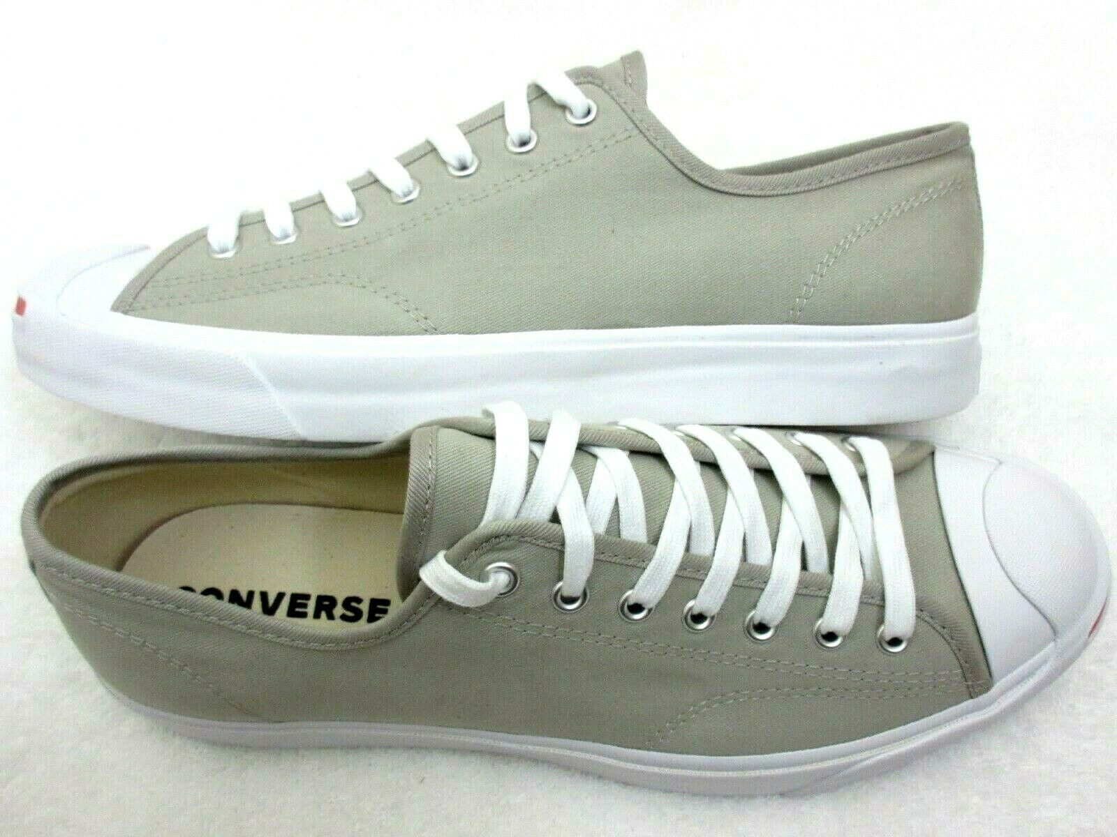 Converse Mens Jack Purcell OX Canvas Birch Bark White Habanero Red Shoes 10.5