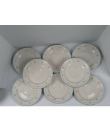 8 Vintage China Blue rim and dots with Pink Flowers Plates / no chips - $23.38