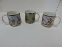"Debbie Mumm ""Easter"" Coffee Mug Tea Cups Sakura Rabbit Bunny 1998 - $32.62"
