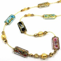 LONG NECKLACE MULTI COLOR MURANO GLASS RECTANGLE TUBE, SPHERE, GOLD LEAF, ITALY image 2