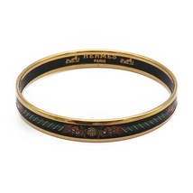 Hermes enamel PM bangle gold black multi-color Auth - $364.28