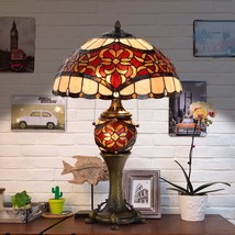 Tiffany Style Victorian Table Desk Lamp Stained Glass Double Light Lit Base - $139.99