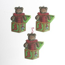 Department 56 Christmas Tree Tin Ornaments Teddy Bears Jack In The Box - $9.89