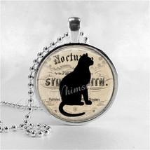 BLACK CAT Pendant Necklace Jewelry Charm, Glass Photo Art Necklace Penda... - $11.95