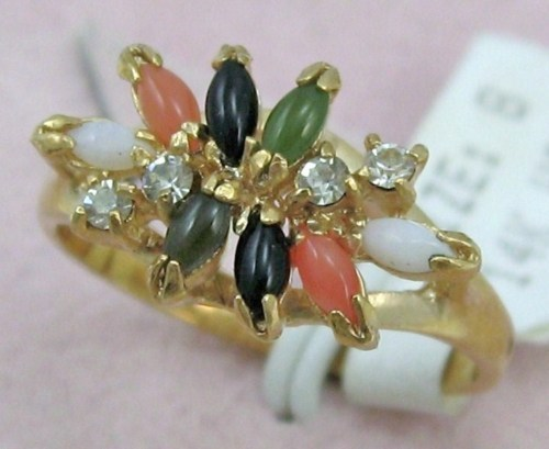 Primary image for  8 PCS MARQUIS GEMSTONE JADE CORAL OPAL RHINESTONE ONYX 14K GP.COCKTAIL RING sz8