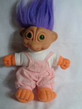 """Vintage 1992 Soma Rag Doll Troll Green Eyes Purple Hair Pink 14"""" - as is - $10.15"""