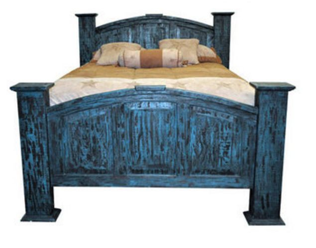 King Mansion Turquoise Scraped Cross Bed Solid Read Wood Distressed Shabby Chic