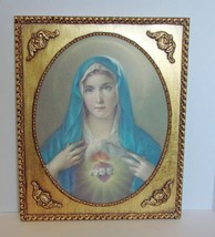 Sacred Heart of Mary Litho in Ornate Gilt Frame   - $17.90