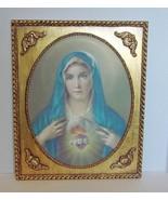 Sacred Heart of Mary Litho in Ornate Gilt Frame   - $17.90