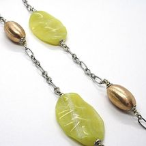 Necklace Silver 925, Ovals Pink, Jasper Green Wavy, Length 105 CM image 4
