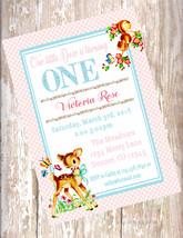 Woodland Deer Theme Birthday Invitations,  Birthday Deer Invitations Bam... - $25.00