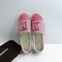 100% Authentic NEW Chanel Pink Sequin Slip On CC Logo Espadrilles Shoes Flats 37