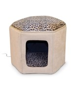 """K&H Pet Products Thermo-Kitty Sleephouse Heated Pet Bed Tan/Leopard 12"""" ... - $67.66"""