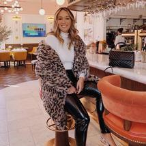 Luxury Fashion Leopard Long Thick  Faux Fur Teddy Bear Coat image 3
