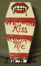 Vampire Lips Kiss Me Blood Goth Morbid Coffin Wood Handmade Trinket Box ... - $9.99