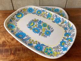 Vintage Melamin Serving Tray Set/2 60's-70's Flowers Picnic Camping Al F... - $31.51