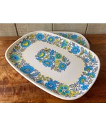 Vintage Melamin Serving Tray Set/2 60's-70's Flowers Picnic Camping Al F... - $31.51