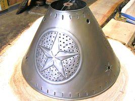 Rustic Brushed Tin Punch Metal Star Round Lamp Shade Sm bz - $79.98