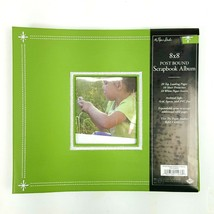 "Green White Embroidered Scrapbook Album 8""x8"" Photo Window Expandable NWT - $12.19"