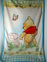 Baby Blanket Winnie Pooh Piglet holding hands blue green gingham checked... - $44.54