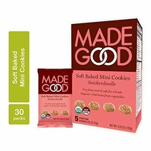 MadeGood Soft Baked Snickerdoodle Mini Cookies, 6 Boxes 30 ct; Nut-Free, Gluten
