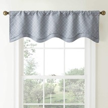 Waterford Linens Campbell Double Scalloped Window Valance in Dusty Blue - $36.42