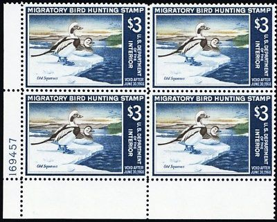 RW34, Mint XF NH Plate Block Old Squaws Federal Duck Stamp - Stuart Katz