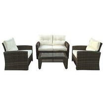 Northlight 4-Piece Two-Tone Brown Rattan Patio Furniture Set - Beige Cus... - $1,241.20