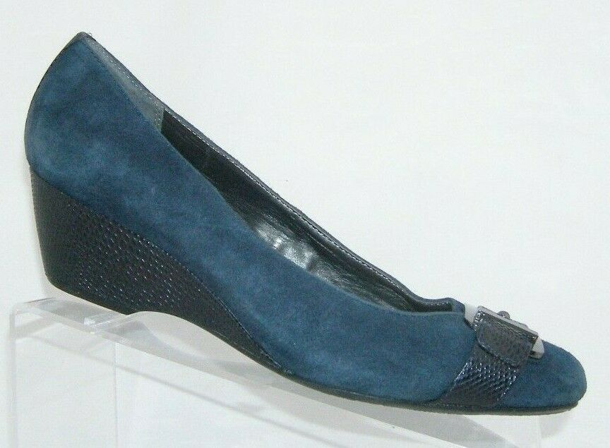 Alfani 'Vina' blue suede Step N Flex square toe buckle slip on wedges 10M