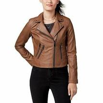 CoffeeShop Juniors' Faux-Leather Moto Jacket - Peanut XS - $36.62