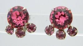 VTG Silver Tone Pink Rhinestone Cluster Screw Back Earrings B - $29.70