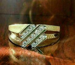 1.20 ct Round Cut Diamond Slant Men's Wedding Band Pinky Ring 14k Yellow... - $123.99