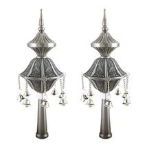Judaica Pewter Finish Pair Of Torah Finials Rimonim Hanging Bells Engraved