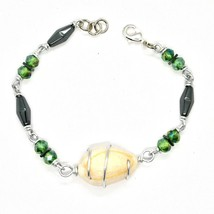 Bracelet the Aluminium Long 19 Inch with Shell Hematite and Crystals image 2