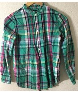 Ralph Lauren Girls Long Sleeves Plaid Dress Roll-up Sleeves Youth Size 12 - $21.99
