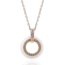 Double Black & White Circle Ceramic Chain Necklace Rose Gold Stainless - $29.99