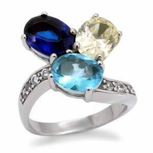Primary image for Stainless Steel  3 Stone Multi Color CZ Cocktail Ring, Size 5,6,7,8,9,10
