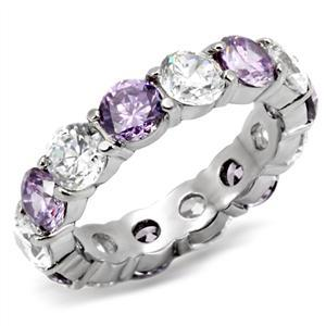Primary image for Stainless Steel Lady's Band Ring With Amethyst CZ, Size 5,6,7,8,9