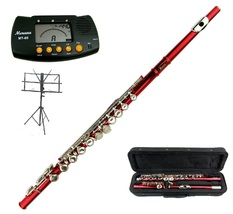 MERANO FLUTE WITH CASE RED LACQUER PLATED KEY OF C + METRO TUNER + MUSIC... - $105.00