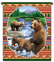 27x36  Lodge BEAR Wildlife Nature Tapestry Wall Hanging  - $39.50