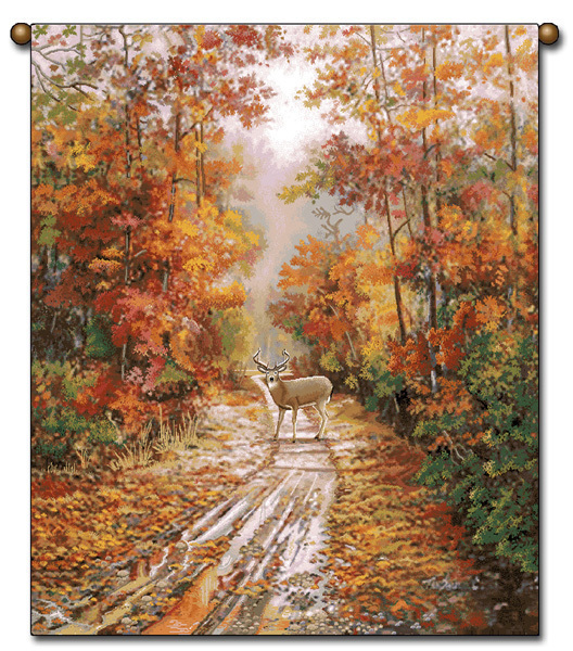 Primary image for  27x36  DEER Autumn Fall Leaves Wildlife Nature Tapestry Wall Hanging