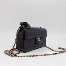 AUTHENTIC CHANEL Lambskin Camellia Mini Flap Black Flap Bag GHW image 4