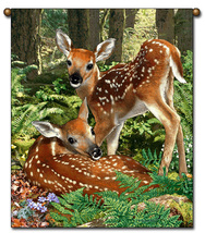 27x36  Deer Fawn Wildlife Nature Tapestry Wall Hanging  - $39.50