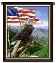 27x36  Bald Eagle Patriotic Flag Tapestry Wall Hanging  - $39.50