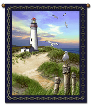 27x36  Lighthouse Ocean Beach Tapestry Wall Hanging - $39.50