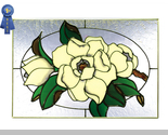 20x14 Stained Art Glass MAGNOLIA Floral Hanging Suncatcher