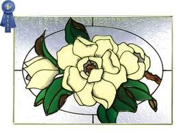 20x14 Stained Art Glass MAGNOLIA Floral Hanging Suncatcher - $70.00