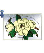 20x14 Stained Art Glass MAGNOLIA Floral Hanging Suncatcher - $75.00